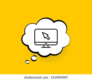 Computer or Monitor icon. Comic speech bubble. Mouse cursor sign. Personal computer symbol. Yellow background with chat bubble. Internet icon. Colorful banner. Vector