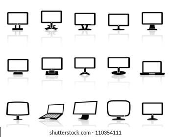 computer monitor icons set