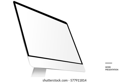 Computer monitor iMac with blank screen isolated on white background. Showcase your website design project. Text: work presentation. Monitor mockup. Vector illustration