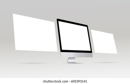 Computer monitor iMac with blank screen and blank web wireframing pages. Web design concept. Mockup for showing responsive app or web projects. Vector illustration