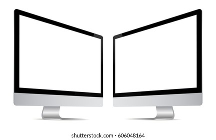 Computer monitor iMac screen mockup with perspective view to showcase website design project in modern style. Monitors with blank screens isolated on white background. Vector illustration