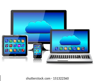 Computer monitor, laptop, tablet pc, and mobile smartphone with a blue background and colorful apps on a screen. Isolated on a white. 3d image.eps