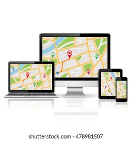 Computer monitor, laptop, tablet pc and mobile phone with GPS map on screen. Digital devices with reflection isolated on white background.