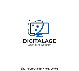 Computer monitor logo template. Digital screen vector design. Device illustration