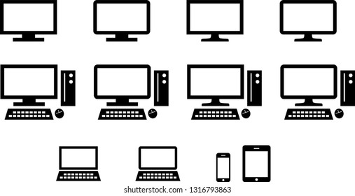 Computer and monitor and mobile device icon set