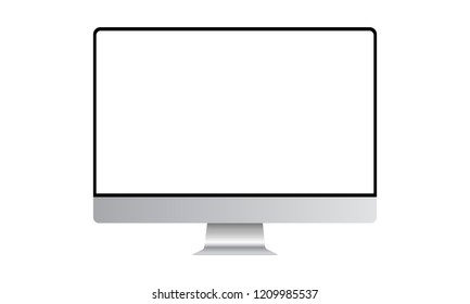 Computer monitor mock up with blank frameless screen - front view. Vector illustration