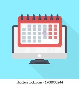 computer monitor and red calendar with date marked on blue background with long shadow. flat design illustration. online education concept