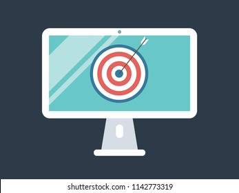 Computer monitor screen and dart arrow target vector illustration business concept