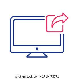 Computer monitor, screen, desktop, display, icon. Social network, share icon