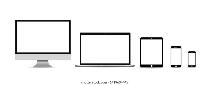 Computer monitor, smartphone, laptop and tablet pc design. Mobile phone smart digital device set icon - vector