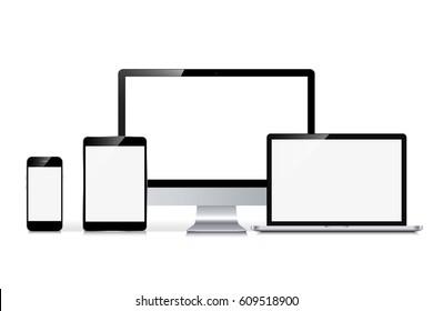 Computerbildschirm, Smartphone, Laptop und Tablet. Set mit leeren Bildschirmen