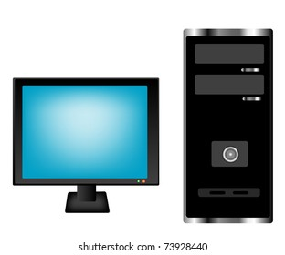Computer monitor and superblock on white background