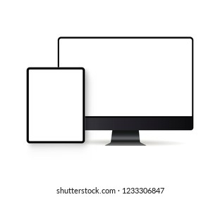 Computer monitor and tablet with blank screens isolated on white background. Modern electronic devices mockups for showcase your website designs. Vector illustration