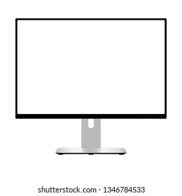 Computer Monitor. Wide Screen Lcd Display. Modern Flatscreen Technology Device Vector Illustration. Electronic Equipment Front View with White Space Isolated on Background. Retina Glass.