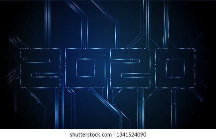 Computer motherboard vector background with circuit board electronic elements. Text design Christmas and Happy new year 2020. Electronic texture for computer technology, engineering concept 2020