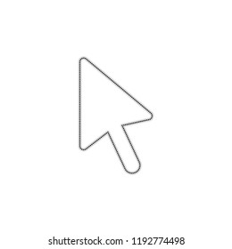 computer mouse arrow icon. Dotted outline silhouette with shadow on white background