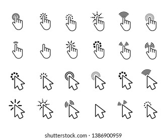 Computer mouse click cursor, gray arrow icons set in flat style vector