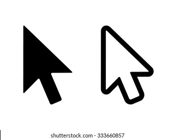 Computer mouse click pointer cursor arrow flat vector icon for apps and websites