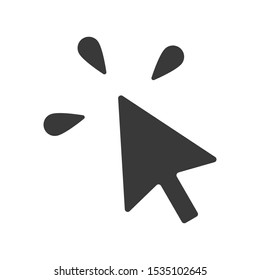 Computer mouse cursor icon with click indicator in simple vector style