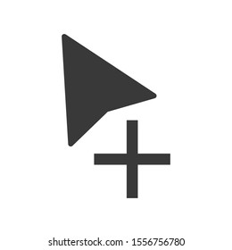 Computer mouse cursor symbol with an add or copy icon in vector