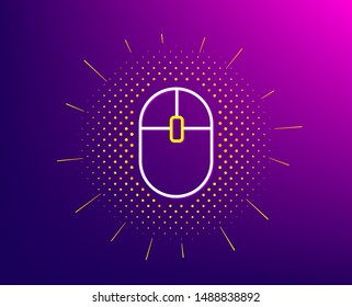 Computer Mouse icon. Halftone pattern. Internet surf device sign. PC equipment symbol. Gradient background. Computer Mouse line icon. Yellow halftone pattern. Vector