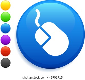 computer mouse icon on round internet button original vector illustration 6 color versions included