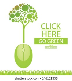 Computer mouse. Tree design. Go green. Save world. vector illustration.