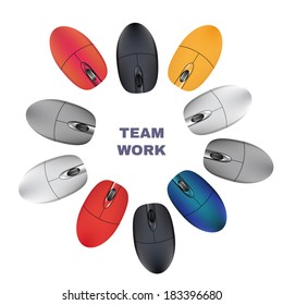 Computer Mouses. Team work. Vector