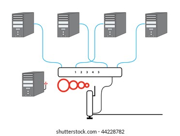 Computer Network Diagram with five PCs Switch Wireless Cable Modem and Router Vector Illustration. Raster version also available.