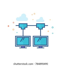 Computer network icon in outlined flat color style. Vector illustration.