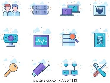 Computer network icon series in flat color style. Vector illustration.