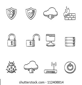 Computer network icon series in sketch