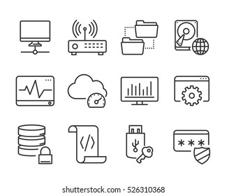 Computer and Network Icons. Outline design.