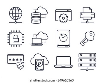 Computer and Network Icons Set 01 // Lines