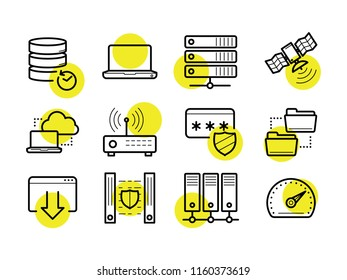 Computer and Network Icons Set. Linear style