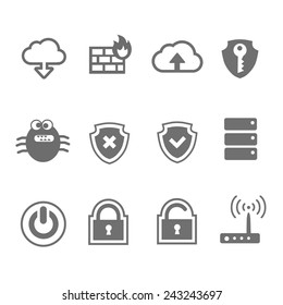 Computer network and security icon set  in single  color