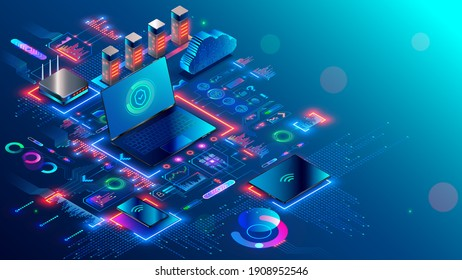 Computer network security technology. Local computer network structure communications with data center or online server via protected internet connection. Cybersecurity data concept. Home network.