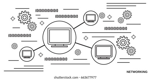 Computer network thin line art style vector concept illustration