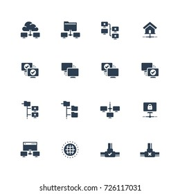 Computer network vector icon set