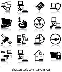 Computer networks related icons/ silhouettes.