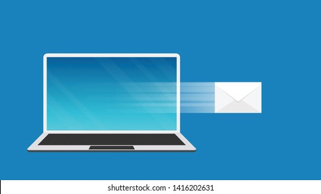 computer notebook vector. wallpaper. free space for text. copy space. mail vector.