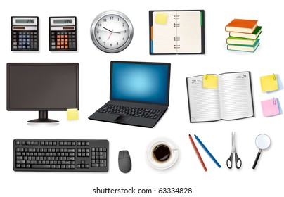 Computer and office supplies. Vector.