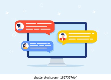 Computer online chat notices. desktop pc with chatting bubble notifications, concept of people messaging on internet, on-line communication. Vector illustration in flat style