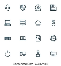 Computer Outline Icons Set. Collection Of Camera, Floppy, Computer And Other Elements.
