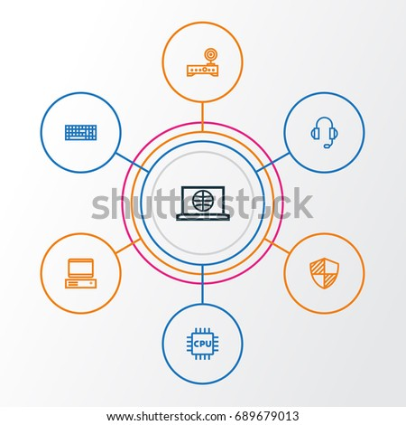 Magnificent Computer Outline Icons Set Collection Modem Stock Vector Home Interior And Landscaping Elinuenasavecom