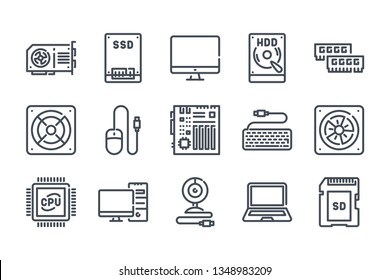 Computer parts device related line icon set. Components and hardware vector linear icons.
