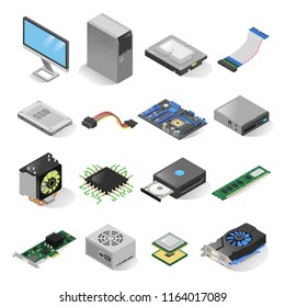 Computer parts isometric set. Inside the computer case hardware elements, hard disk drive, motherboard, video card components. Vector illustration.