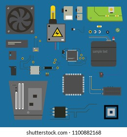 Computer parts set. Vector illustration isolated on background.
