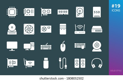 Computer parts solid icon set. Set of pc hardware, components and devices glyphs icons.