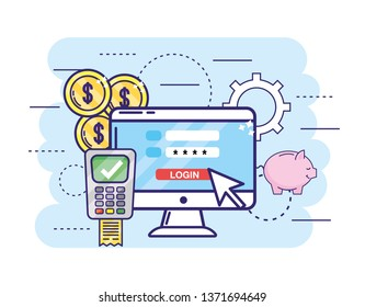 computer with password and dataphone with credit card